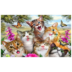 Cat selfie diamond painting glue cotton canvas embroidery diamond painting diy rubik's cube diamond painting kit