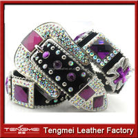 Western Bridal Purple Rhinestone Concho Crystal Wedding Dress Belt