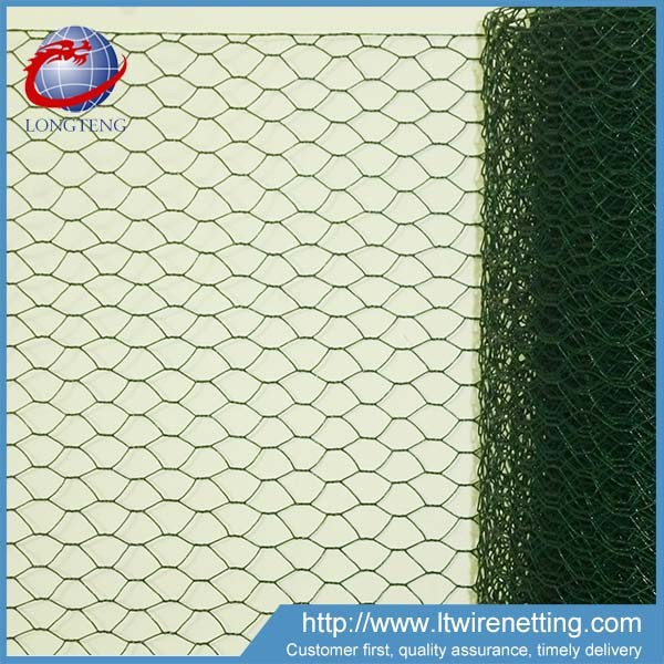 green PVC coated 1/2'' chicken wire fencing / zoo fencing hexagonal wire mesh
