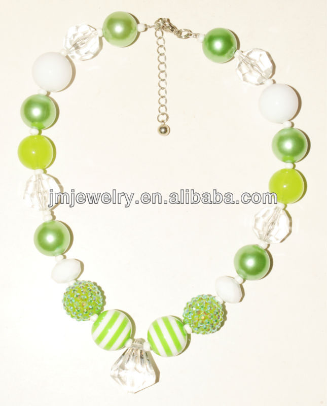 green design kids chunky beads necklace for party,diy fashion jewelry, creative lovely jewelry for kids