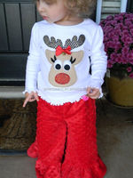 Wholesale christmas fall outfits casual ruffle trousers reindeer t-shirt set smocked design kids long sleeve chothes