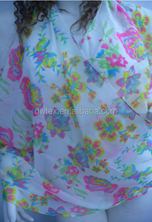 New fashion design dot and flower print polyester chiffon scarf