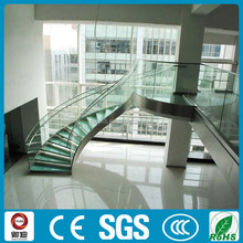 Prefabricated steel glass stairs, interior curved staircase--YUDI