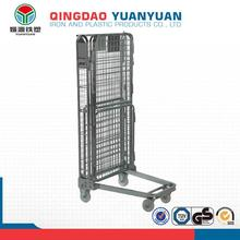 Warehouse 4 sided logistics trolley roll container industry pallet steel warehouse mobile storage cage folding push cart