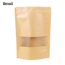 Resealable Snack Stand up Zipper Pouch Kraft Packaging Food Paper Bags 23x33+5CM with Window&