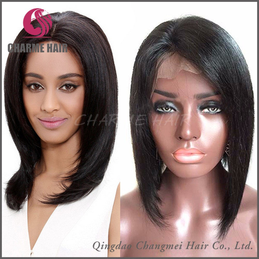 8-30 Inch Best Quality Human Hair Lace Front Wigs With Bangs