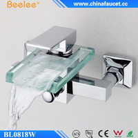 Beelee BL0818W Wall mounted Glass Waterfall Bath Shower Faucet Mixer Taps