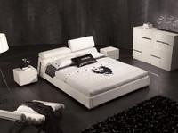 European White Color Modern Soft Leather Bed Frame