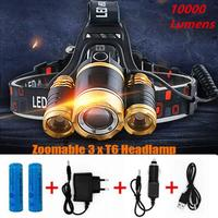 2017 New 10000 Lumen 3T6 LED Headlamp 4 Modes Head Light Lamp LED Headlight