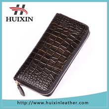 Zipper pouch leather wallet crocodile skin embossed clutch wallet