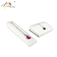 Luxury design white leather jewelry display tray for necklace ring holder