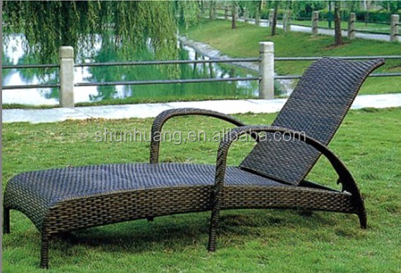 all weather outdoor rattan foldable sun lounger