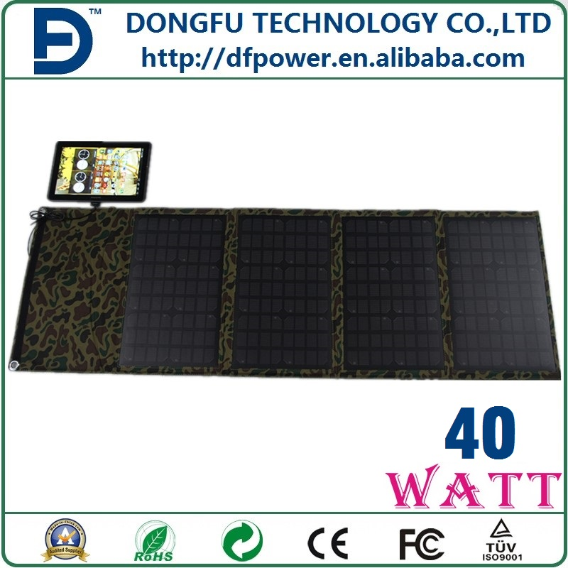40w Outdoor waterproof foldable solar panel charger for hiking, portable solar rechargeable bag