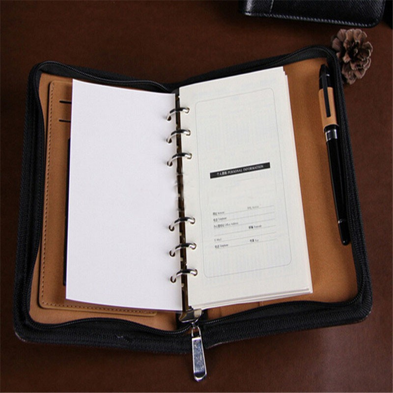 High quality synthetic leather zipper closure notebook organisers