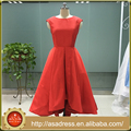 ASAM-10 High Front Lower Back Ball Gown Cap Sleeves Lace Open Back Red Evening Dresses