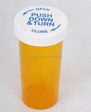 Plastic Child Resistant Push Down and Turn Vials