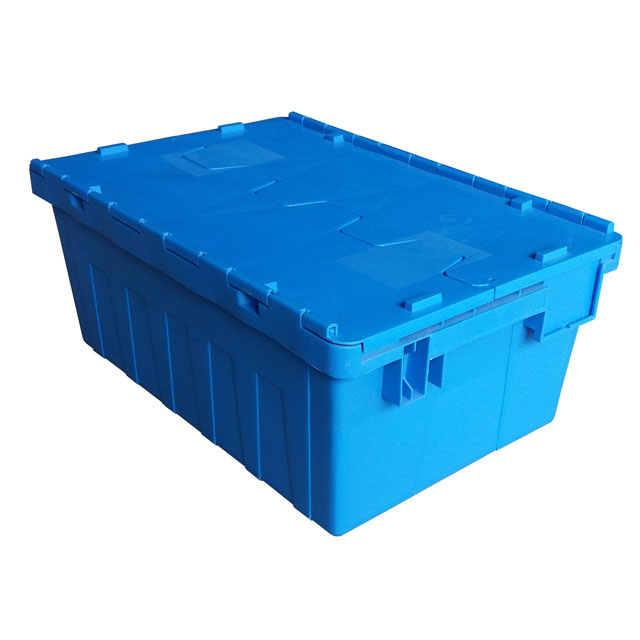 PP Material Stackable and Nestable Industrial Storage Plastic Moving Crate with Lid
