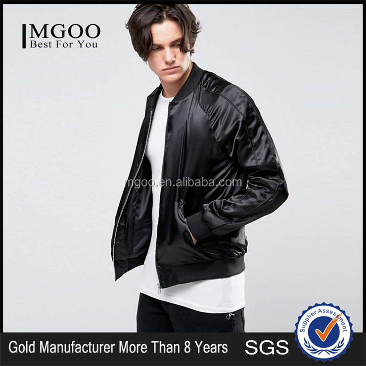 Cheap Price Causal Silm Fit Zipper Up Jacket Ribbing Hem Satin Plain Men Silk Bomber Jackets For OEM