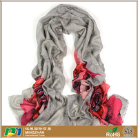 New style grey 100% merino wool pashmina scarves, ladies dress warm priting red rose print the scarf shawls and wraps