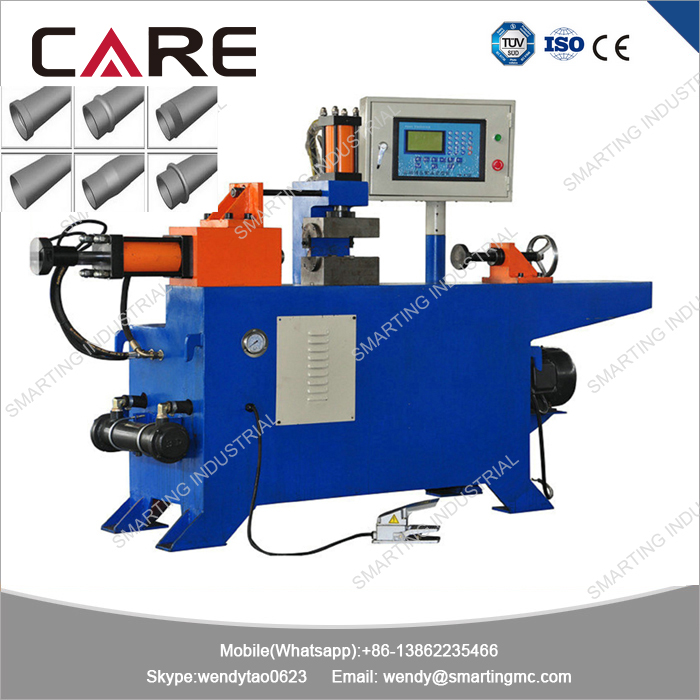 Single head hydraulic tube end shaping process for construction tube reducing