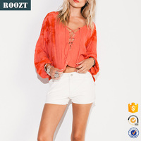 Wholesale Autumn Women's Clothing Lace-up Long Sleeve Casual Ladies Blouse