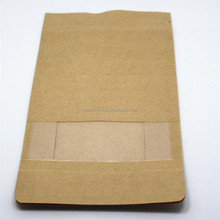 Flat Bottom Stand Up Pouches with Zip Lock Heat Seal Kraft Paper Bags Dried Food Packaging Bag