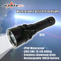 Rechargeable Waterproof T6 LED Strong Stainless Metal Tactical Flashlight