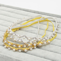 2016 new Fashion Rhinestone pearls Women Hair band / Silver and gold Bridal Hair accessories with ribbon silk / pearl belt
