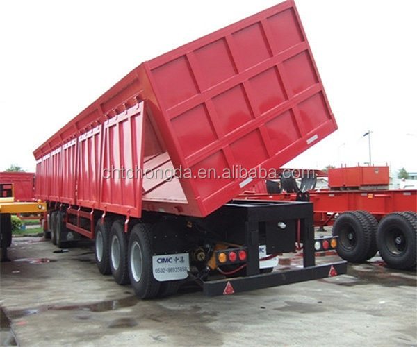 48 ton 3 alxes side dump semi trailer with 12 wheels