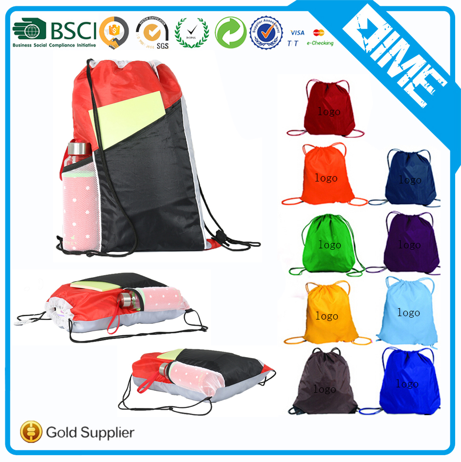 High Quality Polyester Drawstring Mesh Laundry Bag Gym Bag