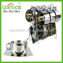 High Quality food grade stainless steel coffee set with spoon cup and saucer