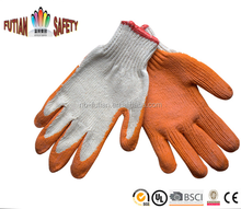 FTSAFETY polyester cotton with wrinkle latex coated working gloves