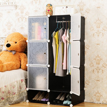 Easy cleaned black assembled wardrobe armoire closet for kids