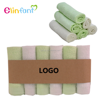 Elinfant baby bamboo washcloths 6 Pack Soft Bamboo Fiber Terry Baby face bath towel wholesale