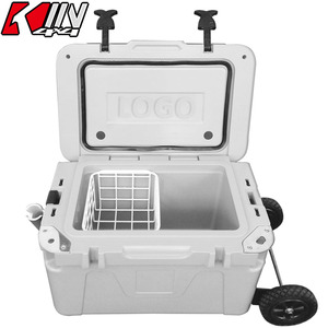 25L Wholesale Large Reusable Plastic Ice Cooler Box with Wheels for fishing