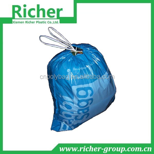 blue draw strong garbage bags with printing