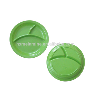 Food grade melamine round kids plastic divided plate