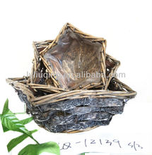 wholesale set 3 star shape grey/colorful wicker willow woodchip basket with handle plastic lining