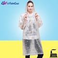 Fashion waterproof clear plastic rain coats printed