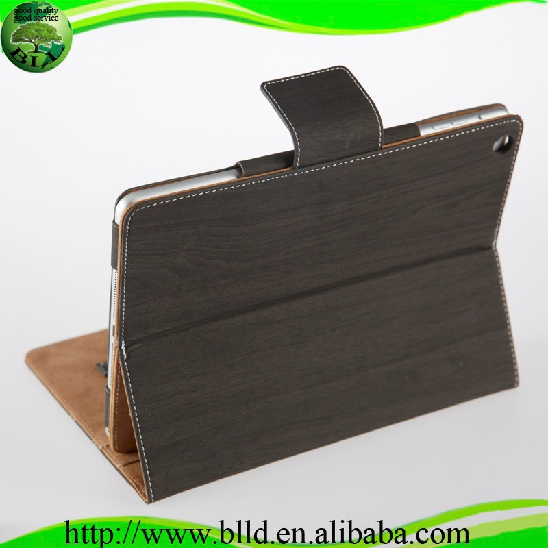 Wholesale Wood grain design flip leather case cover for <strong>ipad</strong> 6