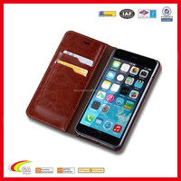 2016 New Design Fashion Filp Stand Wallet Oil Wax Genuine Leather Case for iPhone 6 Plus