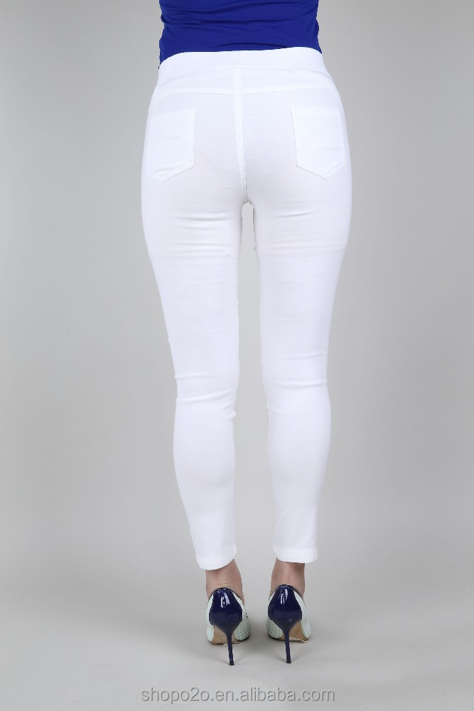Latest Short Cropped White Plain Dyed Ladies Casual high school girls in trousers