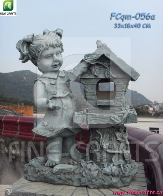 Polyresin Girl Statue Bird House