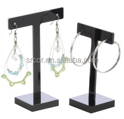 Acrylic Earring Holder Stand, T-Bar, Fits 1 Single Pair of Earrings, Black or Clear (Set of 3 Large and 3 Small)
