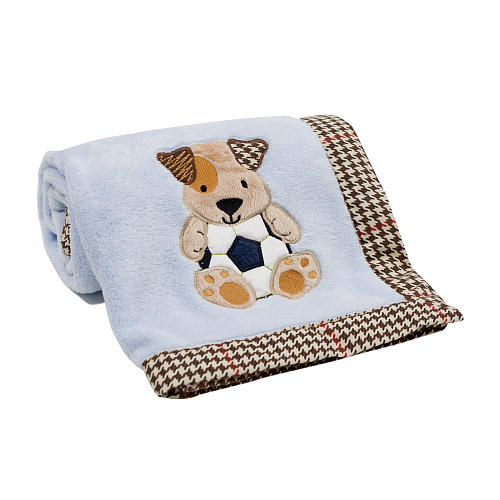 Soft fleeces thickened printed baby blanket with dog embroidered blanket for baby