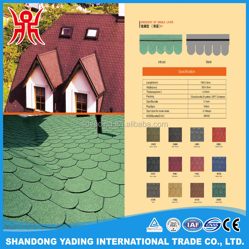Color estate gray crescent of single layer round asphalt shingle