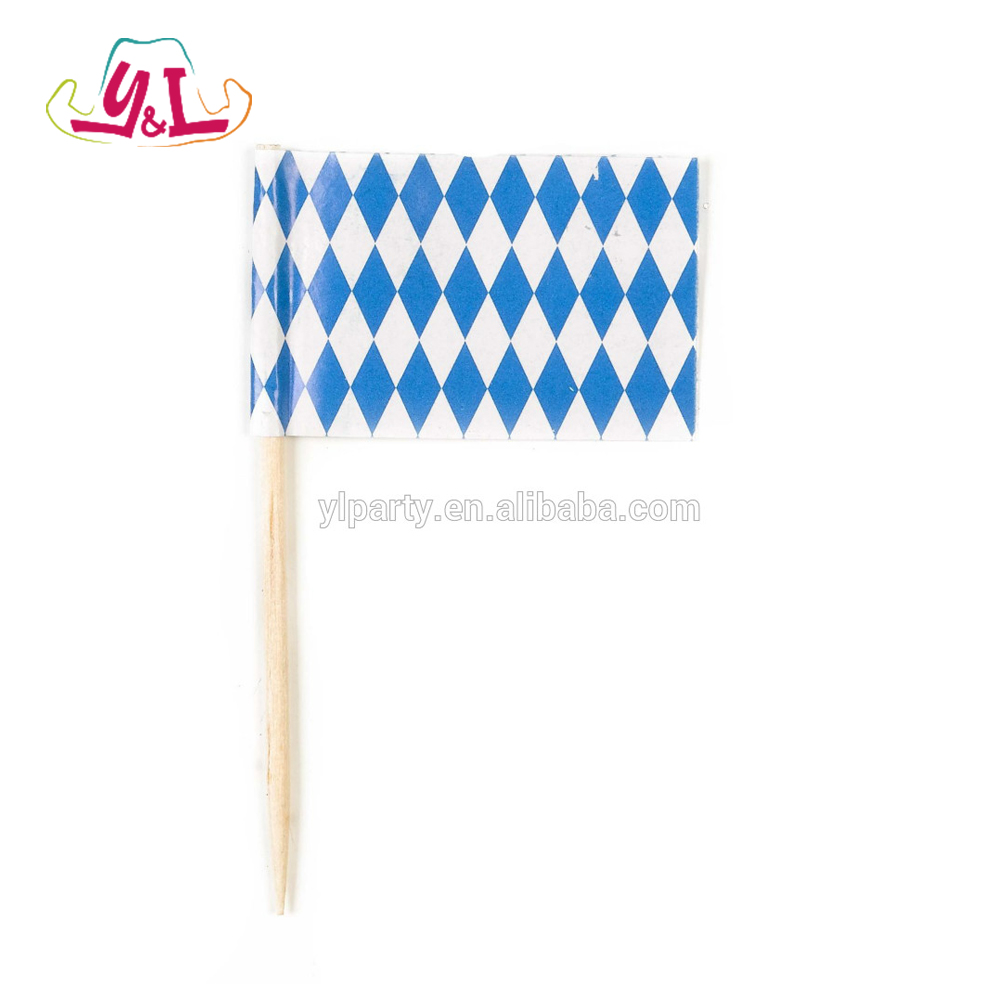 Oktoberfest Picks Party Mini Paper Flag In Blue Whith Striped Flag