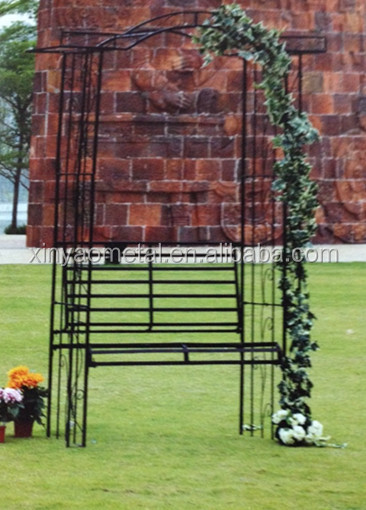 Metal garden arch garden decoration garden arch with bench AH090004