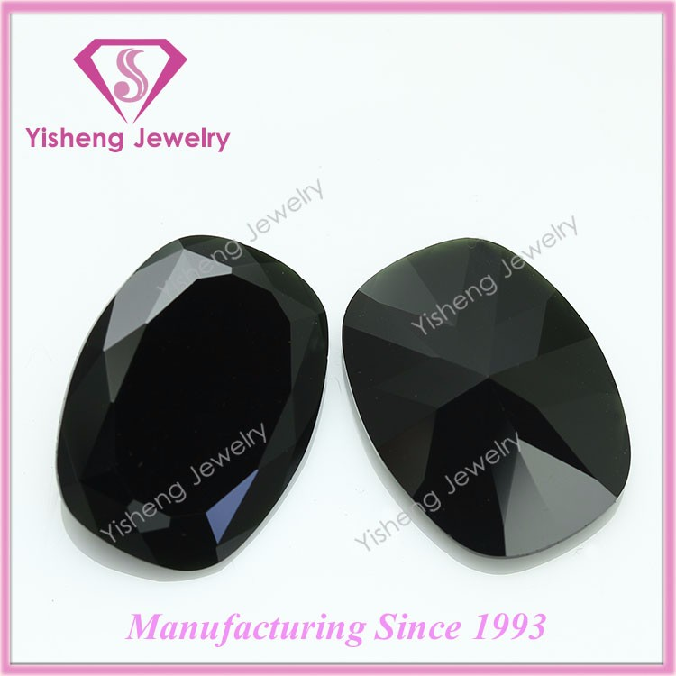 Loose Octagon Princess Cut Faceted Black Onyx Glass Stones