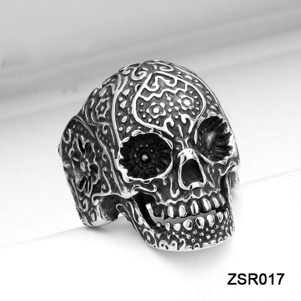 HOTSALE Exquisite Casting Heavy Punk Biker Jewelry Lacework 316L Stainless Steel Skull Ring for Men